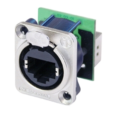 Bild von NE8FDP | etherCON Einbaubuchse (Paneldurchf.) Nickel, 2x E-SCREW