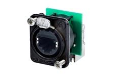Bild von NE8FDP-R-B | Rechtwinklige etherCON Einbaubuchse (Paneldurchf.) schwarz, 2x E-SCREW