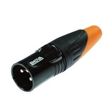 Bild von XL23MB-W | XLR male 3 PIN IP67 Black Housing  & Orange Boot Solder