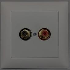 Bild von UP 2CINCH S sw | Unterputzrahmen EDIZIOdue mit 2x Cinch Buchsen symmetrisch, schwarz