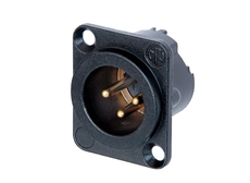 Bild von NC3MD-LX-B | Einbaustecker XLR 3pol. male, Lötanschlüsse, schwarzes Gehäuse, Gold beschichtete Kontakte, integrierter Massekontakt