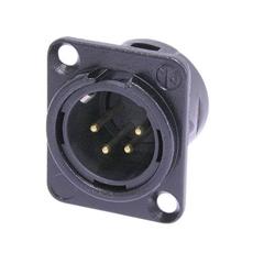 Bild von NC4MD-L-B-1 | Einbaustecker XLR 4pol. male, Gehäuse schwarz, Gold Kontakte