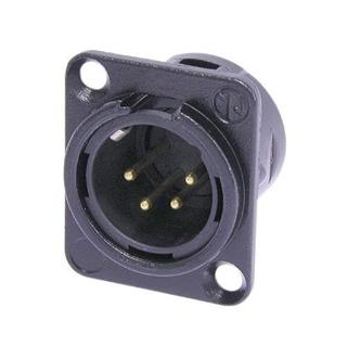 Bild von NC4MD-L-B-1   Einbaustecker XLR 4pol. male, Gehäuse schwarz, Gold Kontakte