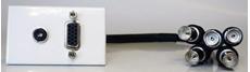 Bild von proFLF VGA3.5 5BNC | proFLF mit VGA auf 5x BNC Kabelpeitsche f/f und 3,5mm Klinkenbuchse stereo, Lötversion; weiss