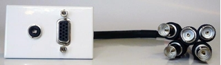 Bild von proFLF VGA3.5 5BNC   proFLF mit VGA auf 5x BNC Kabelpeitsche f/f und 3,5mm Klinkenbuchse stereo, Lötversion; weiss